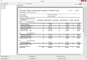 Charges and Payments by Patient Code