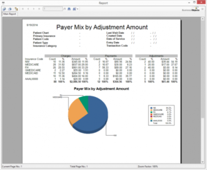 PAYER MIX BY ADJUSTMENTS output