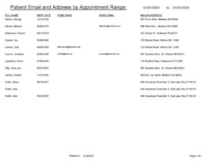 Patient Email by Appointment Range-001