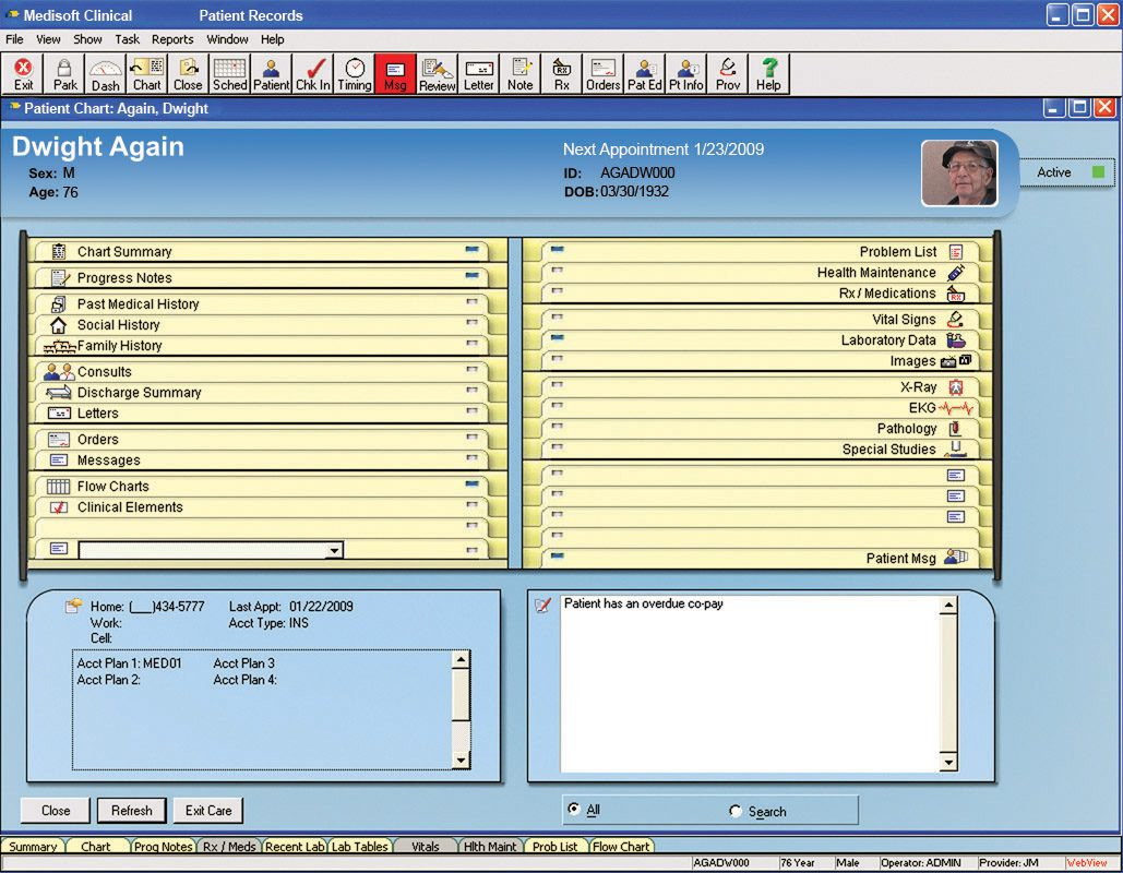 Medisoft Clinical EMR Patient Chart