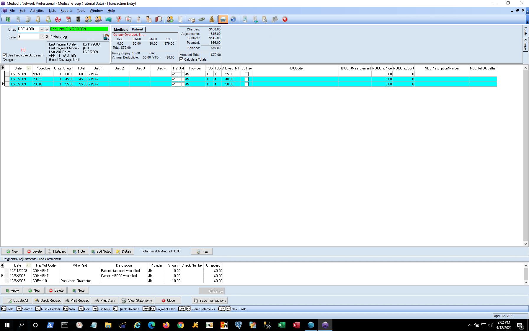 Medisoft VS Lytec - Medisoft Transaction Entry